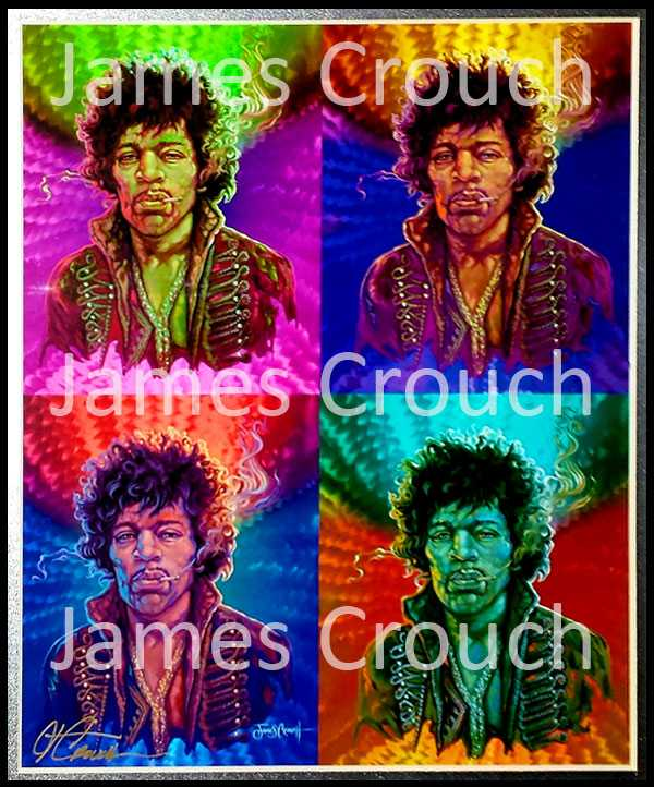 Jimi Squared Print by James Crouch - Signed and Numbered Measures 18in X 22in with Frame