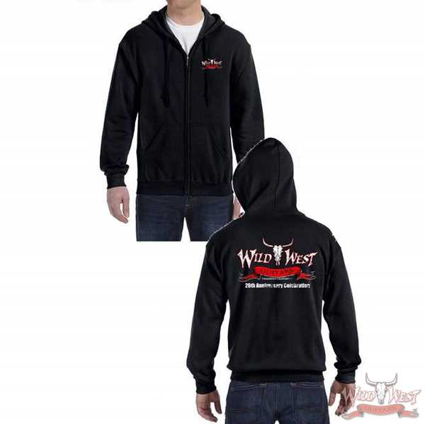 Wild West Guitars 20th Anniversary Zip Hoodie Black/Gray/Navy Blue