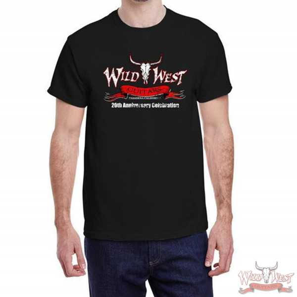 Wild West Guitars 20th Anniversary T-Shirt Tee Black/Gray