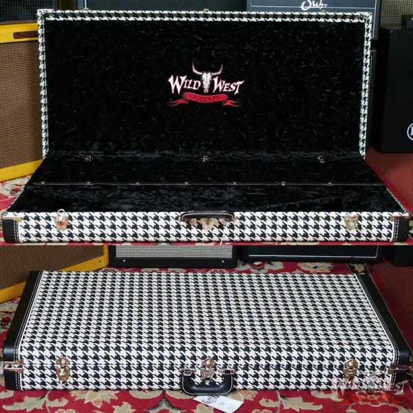G&G Quality Case Wild West Guitar 7 Guitar Case Stand Houndstooth with Black Interior