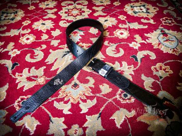 "Red Monkey Handbuilt 2"" Classic Leather Guitar Strap 56''- 60'' Black+Silver"