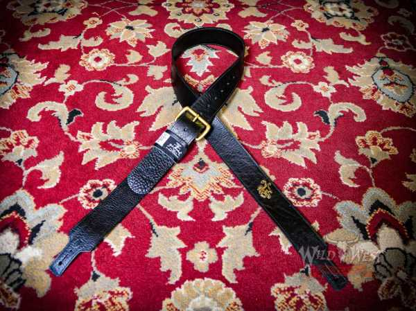 "Red Monkey Handbuilt 2"" Classic Leather Guitar Strap 56''- 60'' Black+Brass"