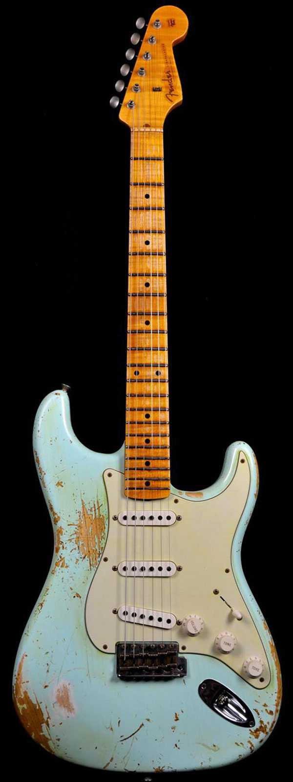 Fender 1956 Stratocaster Heavy Relic AA Flame Maple Neck Faded Surf Green