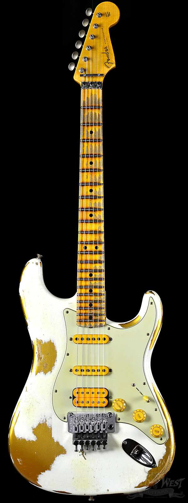 Fender 1960 Stratocaster White Lightning Faded HLE Gold w/ Floyd Rose