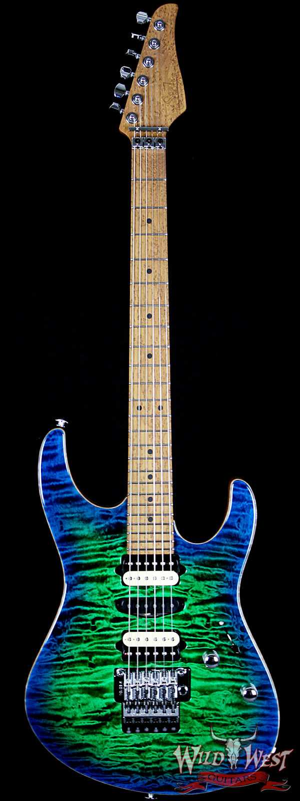 Suhr Modern Quilt Top 3A Roasted Maple Neck Blue Green Burst