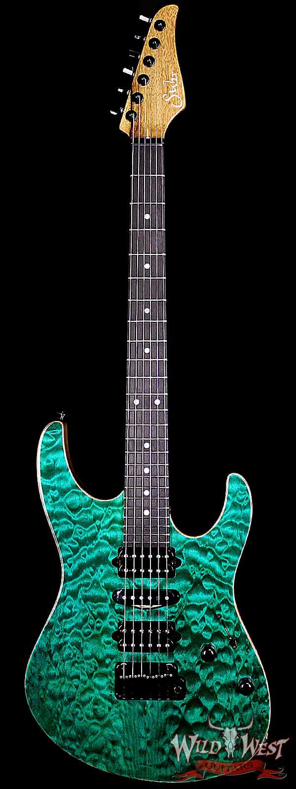 Suhr Modern Quilt Maple w Black Limba Body / Neck Ebony Board Trans Teal