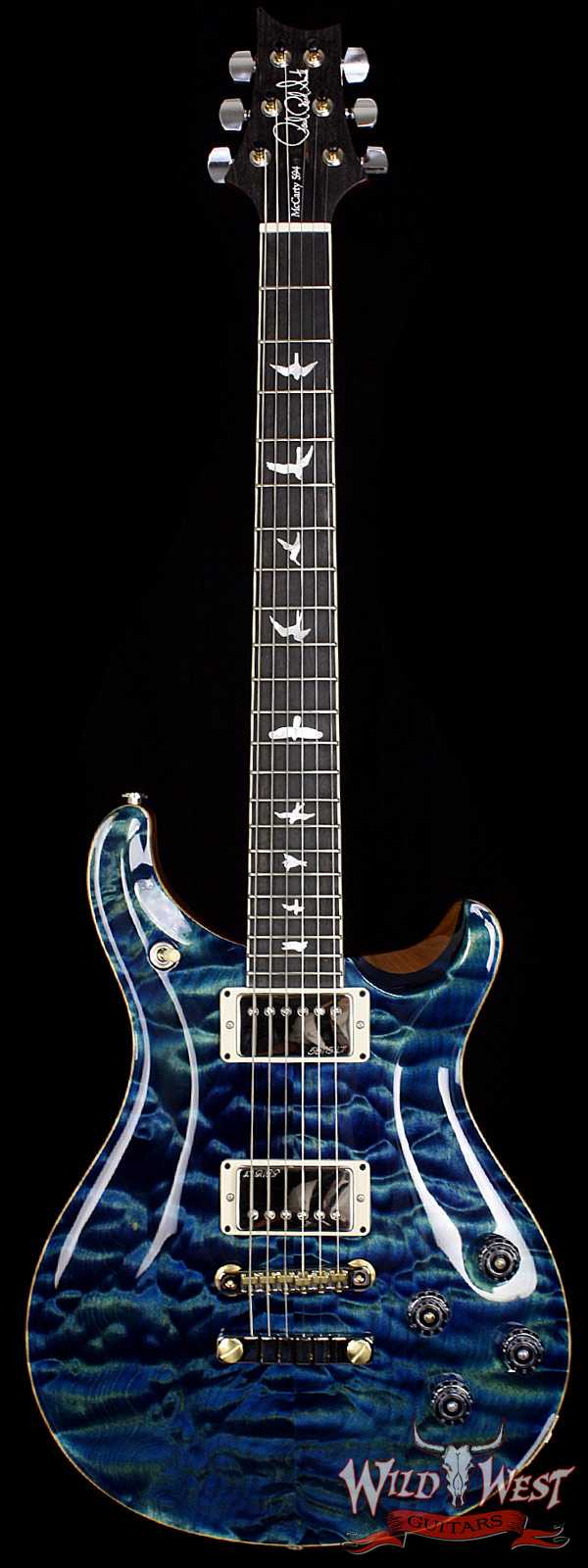 PRS Wood Library 10 Top McCarty 594 Quilt Top River Blue W/Ebony Fretboard