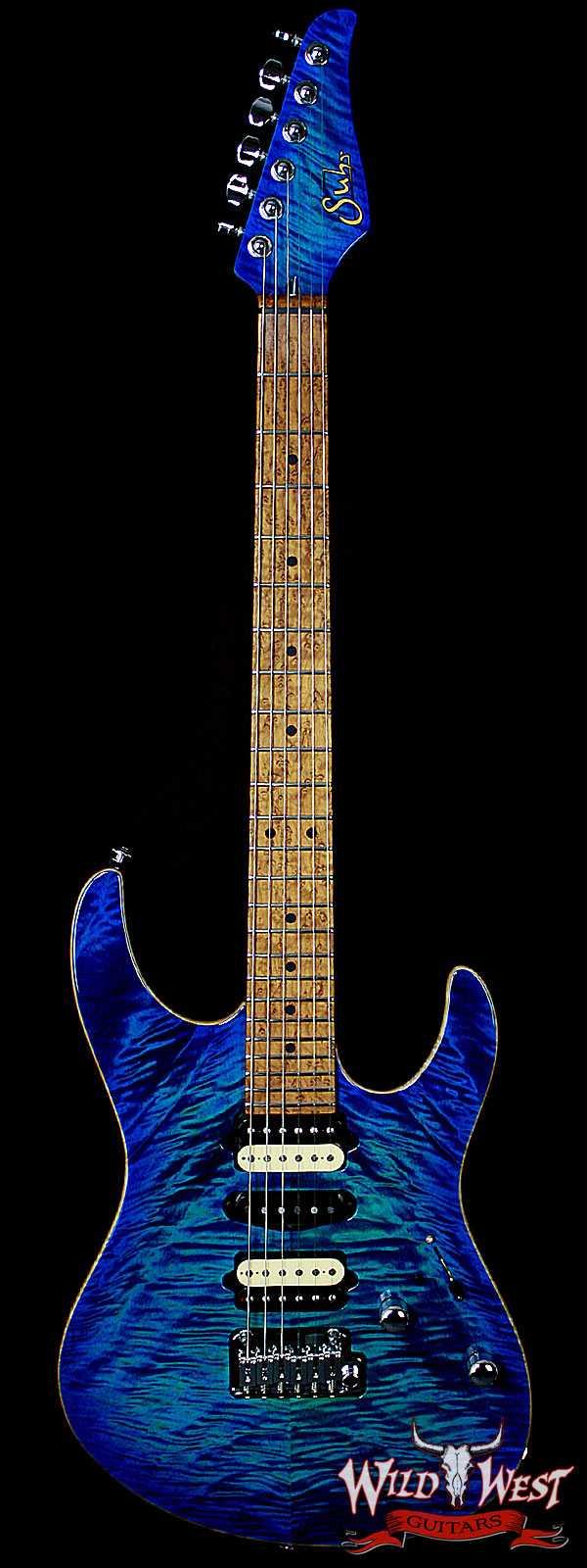 Suhr Modern Quilt Maple w/ Swamp Ash Body and 5A Roasted Birdeyes Maple Neck Aqua Blue Burst
