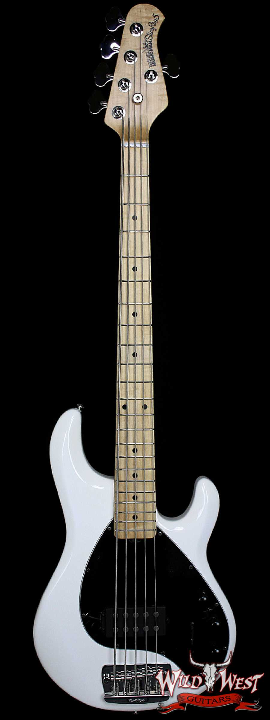 ernie ball music man stingray 5 string bass white wild west guitars. Black Bedroom Furniture Sets. Home Design Ideas