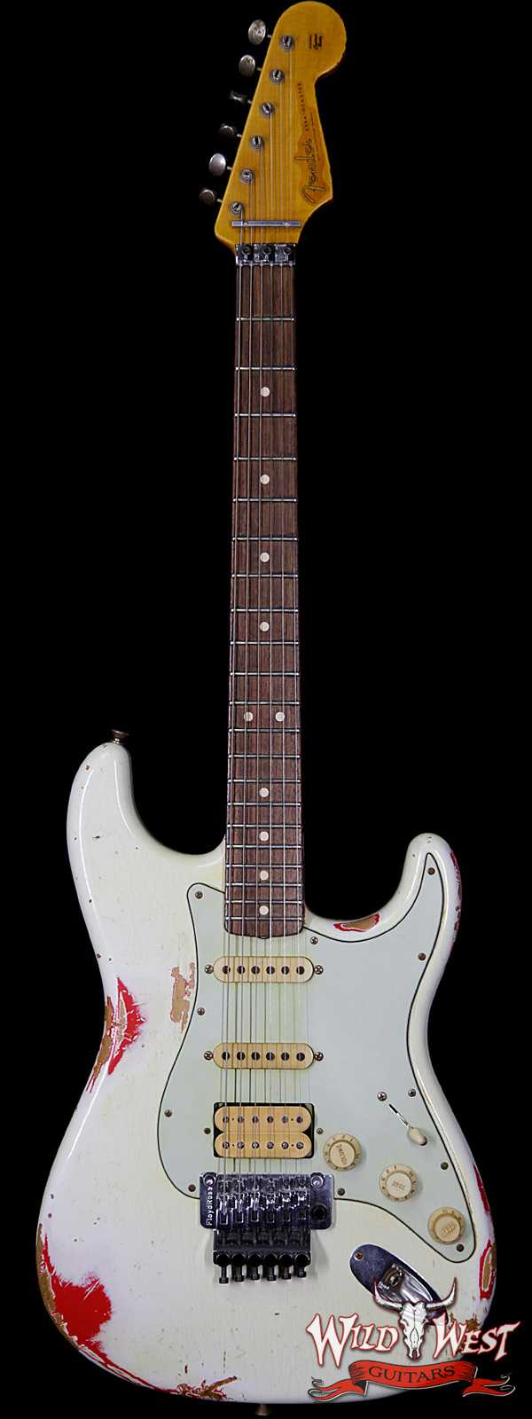 Fender Custom Shop White Lightning Floyd Rose HSS 1960 Stratocaster Heavy Relic Olympic White over Hot Rod Red