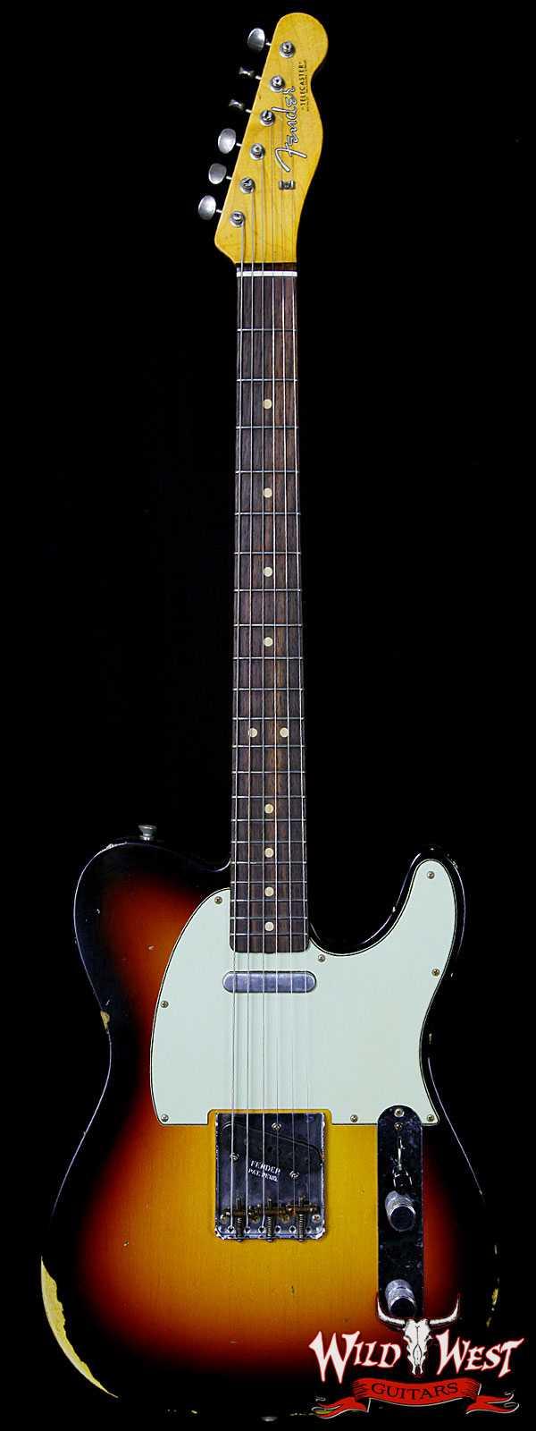 Fender Custom Shop 1963 Telecaster Relic Rosewood Fret Board 3-Tone Sunburst
