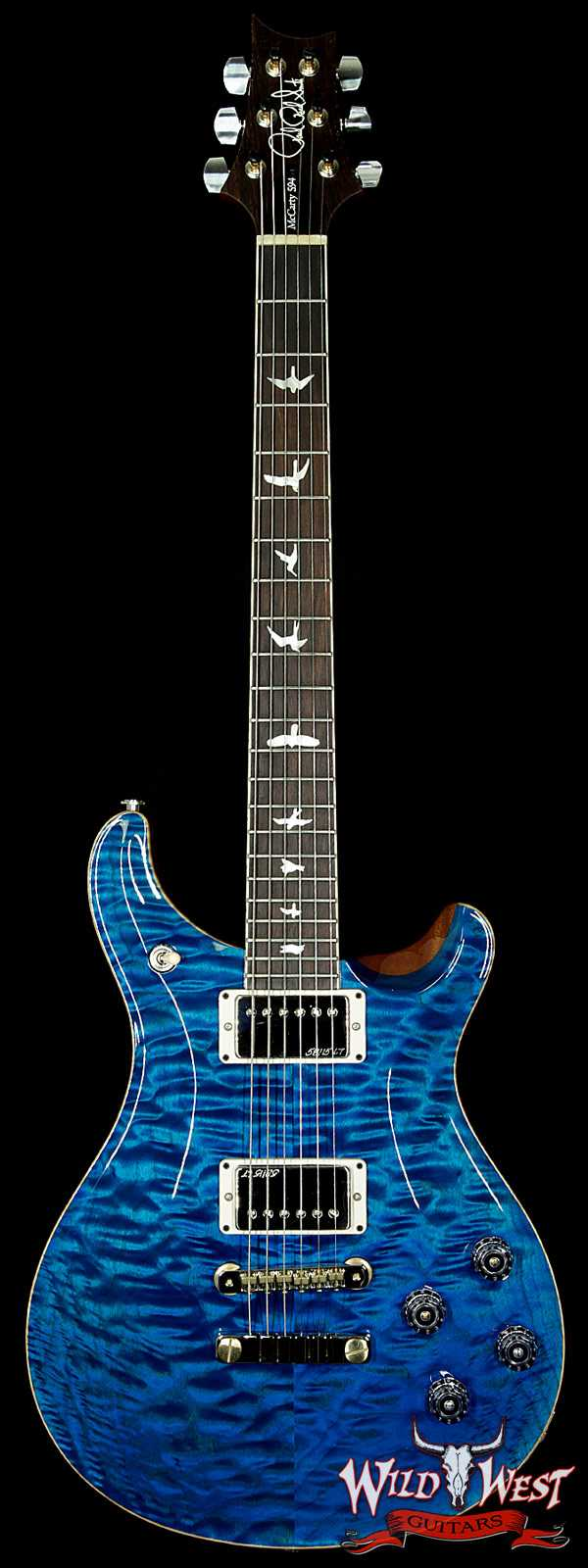 PRS Wood Library 10 Top McCarty 594 Quilt Top Aquamarine w/Brazilian Rosewood Fretboard