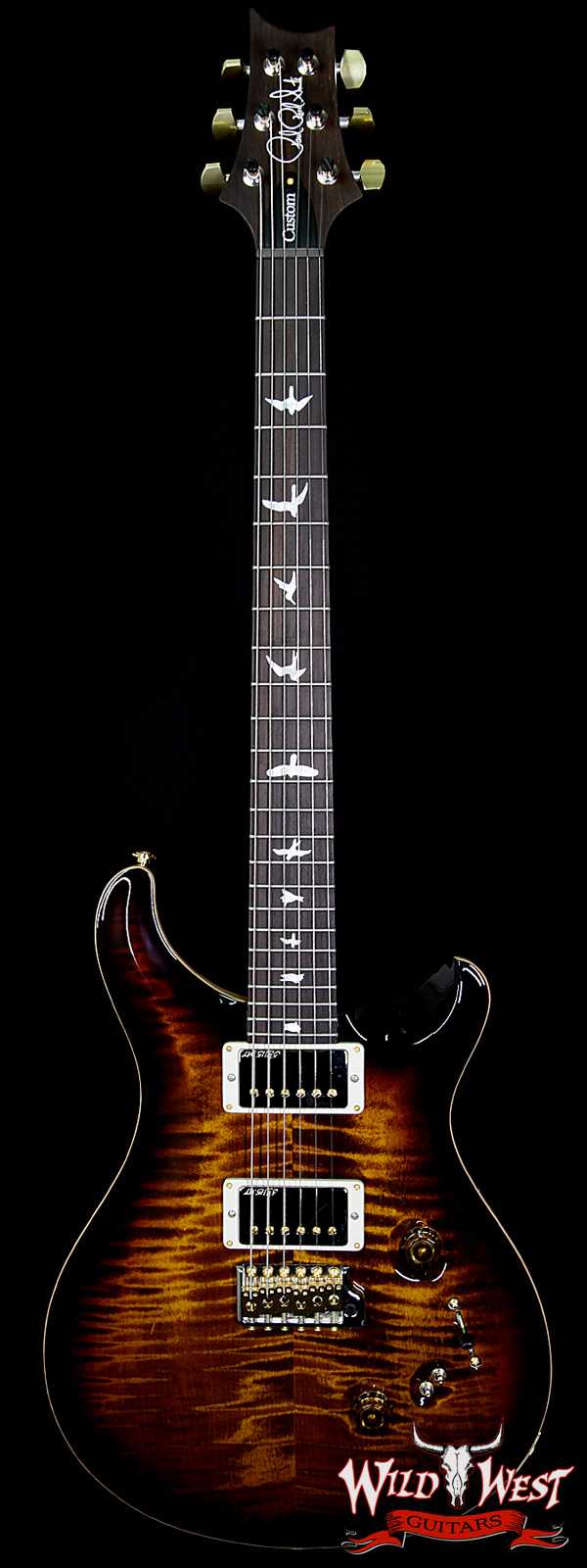 PRS Wood Library 10 Top Custom 24/08 Black Gold Burst Flame Top w/Brazilian Rosewood Fretboard