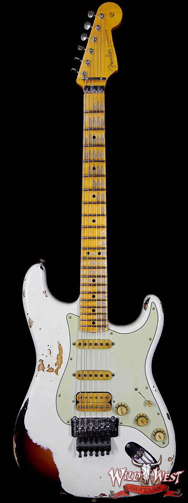 Fender Custom Shop White Lightning FR Stratocaster Heavy Relic Olympic White over 3 Tone Sunburst