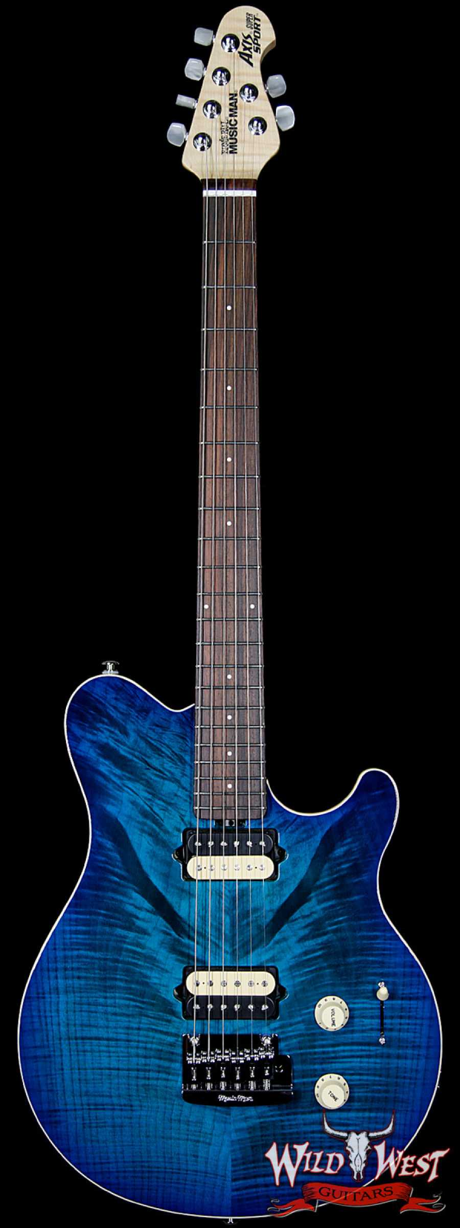 ernie ball music man axis super sport flame maple top rosewood fretboard balboa blue burst. Black Bedroom Furniture Sets. Home Design Ideas