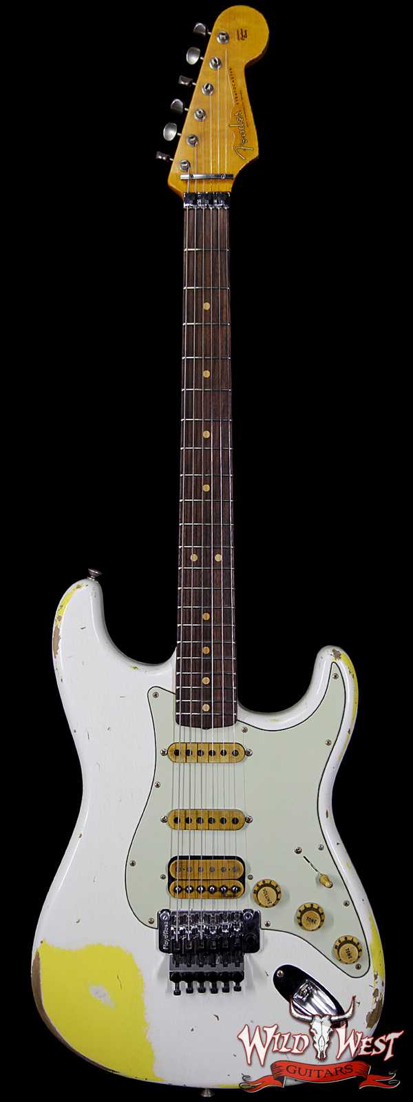 Fender Custom Shop White Lightning Stratocaster Heavy Relic Rosewood Olympic White / Graffiti Yellow