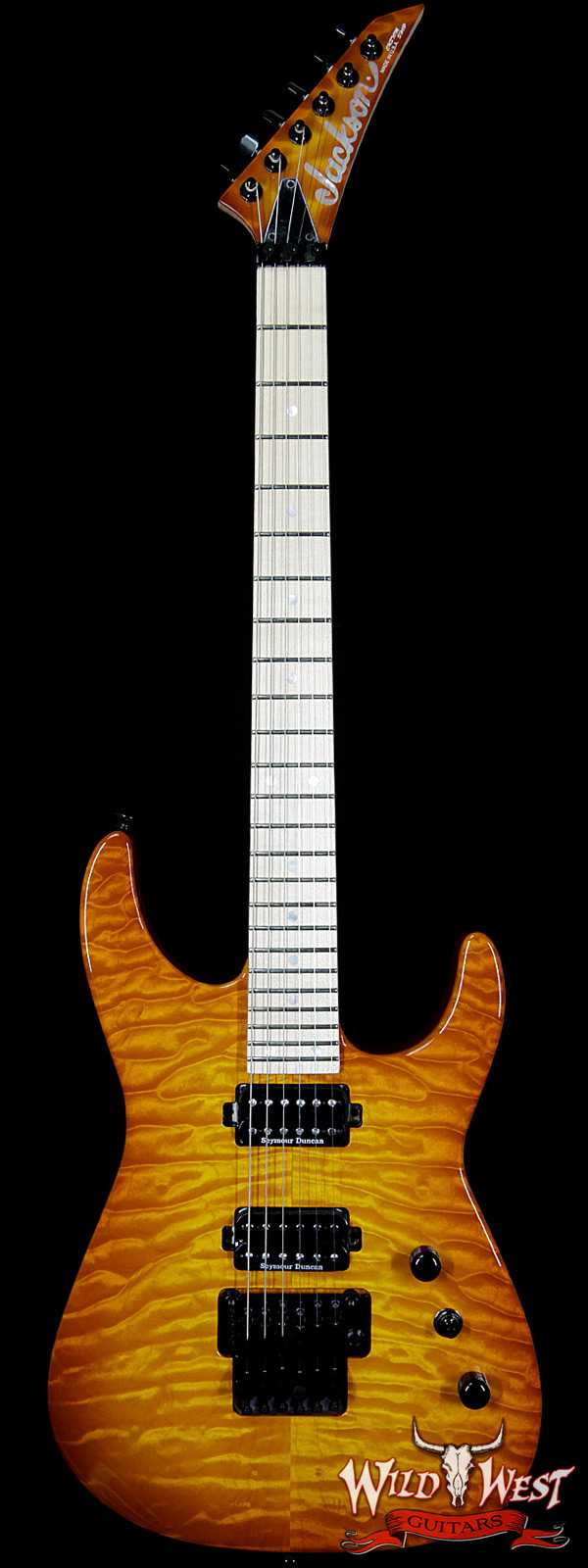 2017 Jackson Custom Shop Dinky DK 2H Floyd Rose Quilt Maple Top Amber Sunburst