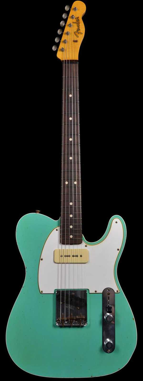 Fender 1963 Custom P90 Relic Telecaster Seafoan Green Black Back Preowned