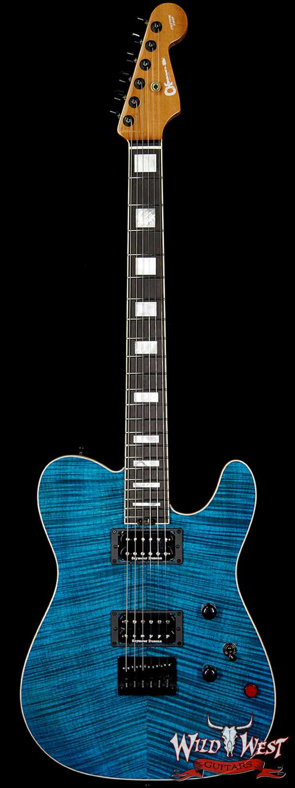 Charvel Custom Shop Wild West 010 Masterbuilt Red Dave Style 2 HH Flame Top Kill Switch Trans Aqua
