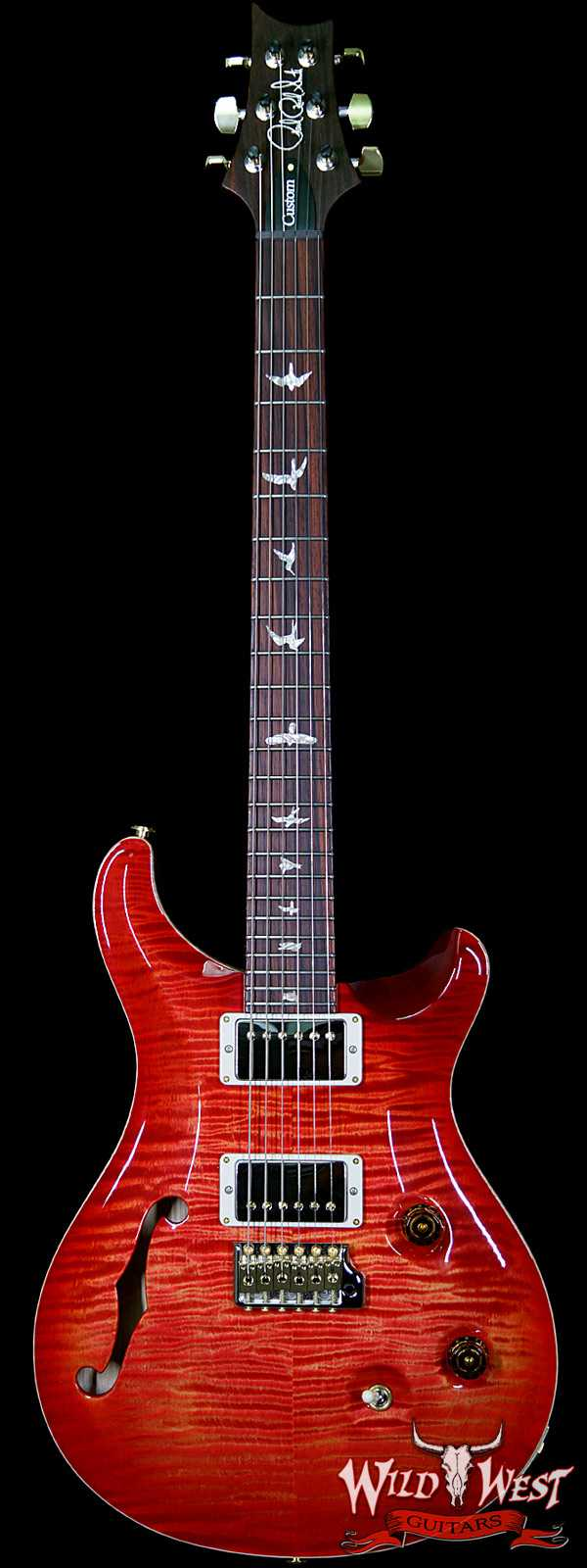 PRS Wood Library 10 Top Custom 24 Semi-Hollow Flame Maple Top & Neck Cocobolo Fretboard Blood Orange