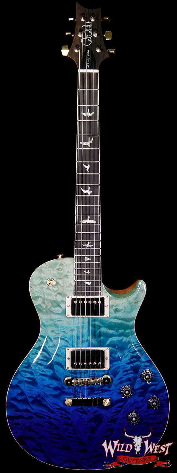 PRS Wood Library Artist Package McCarty Singlecut SC594 Quilt Top Brazilian Rosewood Board Blue Fade