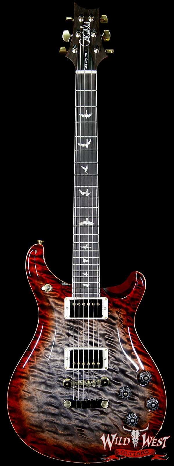 PRS Wood Library Artist Package Mc 594 1-Piece Quilt Top Brazilian Rosewood Charcoal Cherry Burst