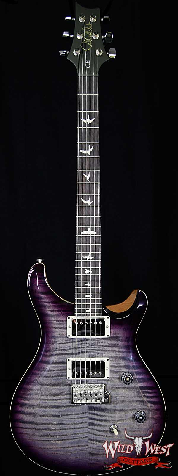 PRS Wild West Guitars Special Run CE 24 Flame Top 57/08 Pickups Faded Grey Black Purple Burst 251442