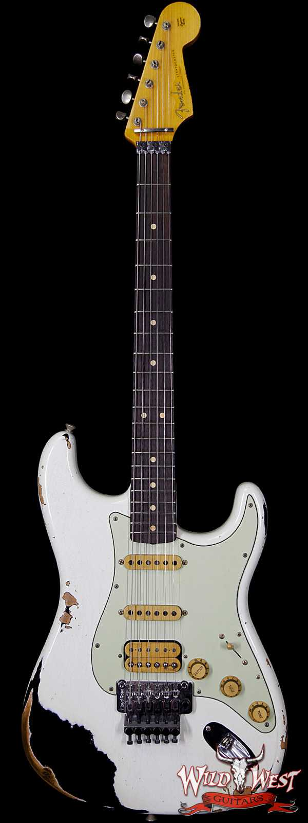 Fender Custom Shop White Lightning FR HSS Stratocaster Heavy Relic Rosewood 21 Frets OWT over Black
