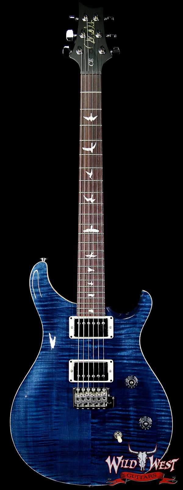 PRS Wild West Guitars Special Run CE 24 Flame Maple Top and 57/08 Pickups Whale Blue 244775