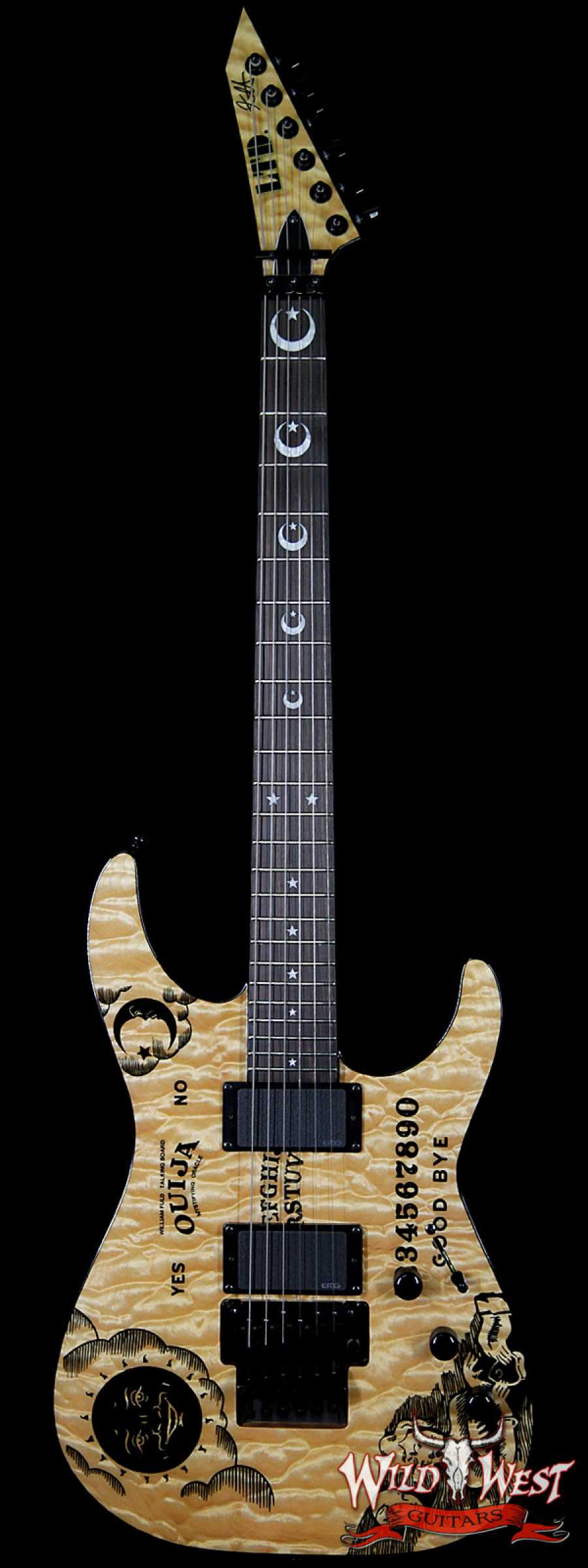 ESP LTD Kirk Hammett Signature KH Ouija EMG HH Floyd Rose Quilted Maple Top Natural 1 Of 666 Limited