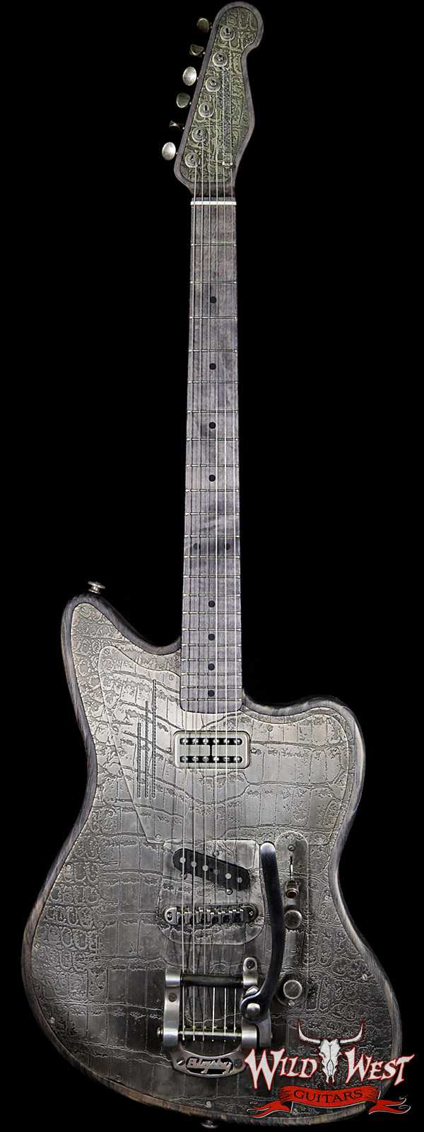 James Trussart SteelTeleMaster Antique Silver Gator Engraved Driftwood Finish Alder Body with Bigsby