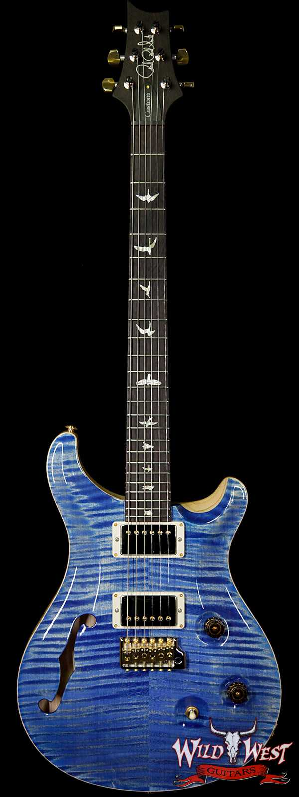 PRS Wood Library 10 Top Custom 24 Semi Hollow Flame Maple Top & Neck Brazilian Rosewood Fretbaord Faded Blue Jean