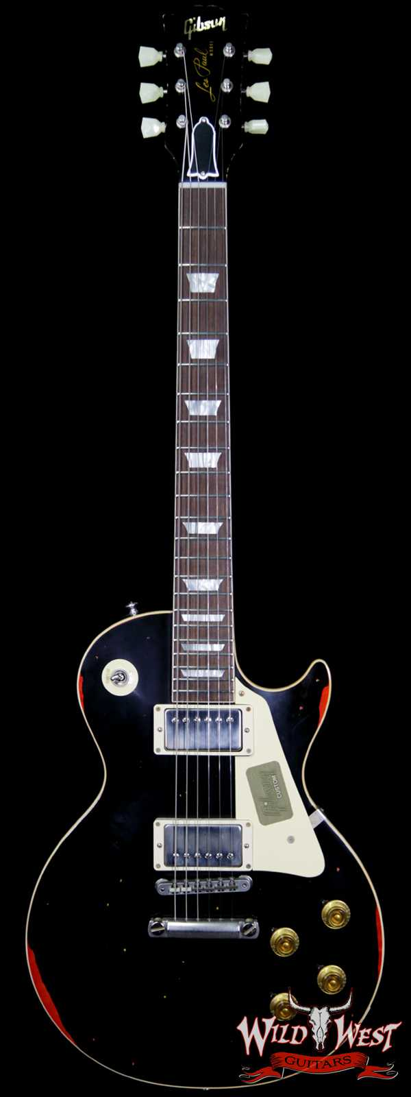 """2017 Gibson Custom Shop Les Paul Standard """"Painted Over"""" Aged Black over Cherry Sunburst 8.4 Pounds Limited 1 of 50"""