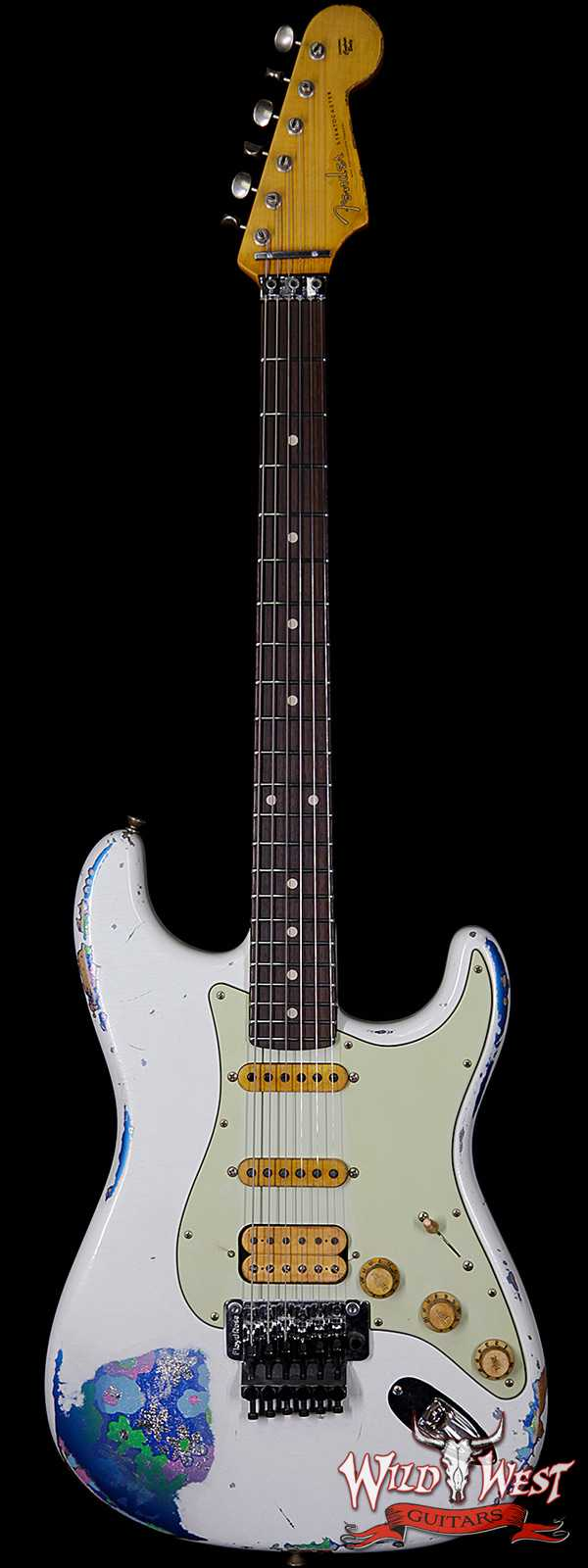Fender Custom Shop White Lightning Stratocaster HSS Floyd Rose Heavy Relic Rosewood Board 22 Frets Blue Flower