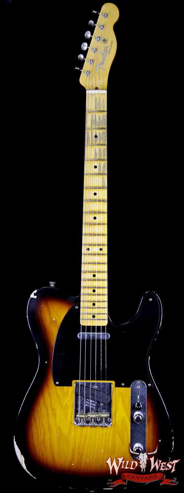 Fender Custom Shop 1952 Telecaster Relic Maple Neck 2 Tone Sunburst Black Pickguard