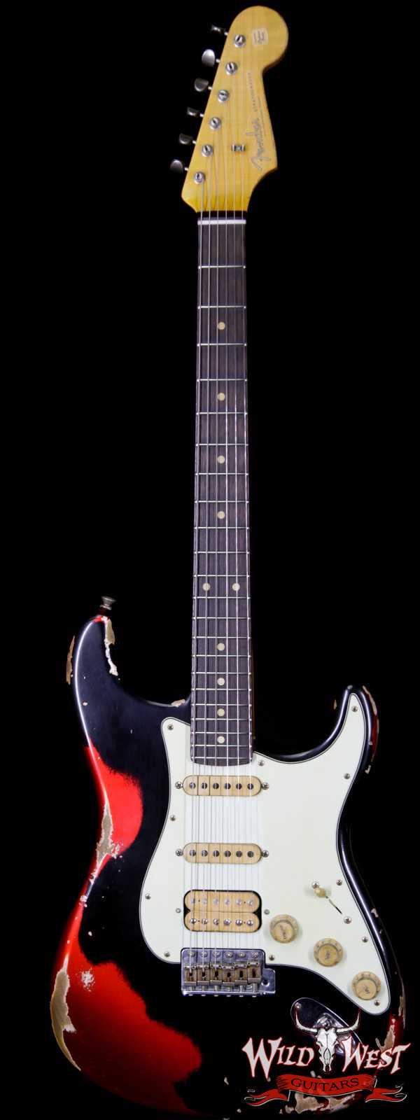 Fender Custom Shop Black Lightning 2.0 Stratocaster Heavy Relic HSS 22 Frets Rosewood Board Candy Apple Red