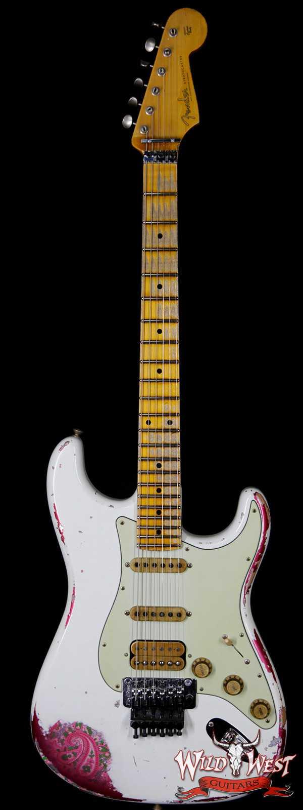 Fender Custom Shop White Lightning Stratocaster HSS Floyd Rose Heavy Relic Maple Neck 22 Frets Pink Paisley