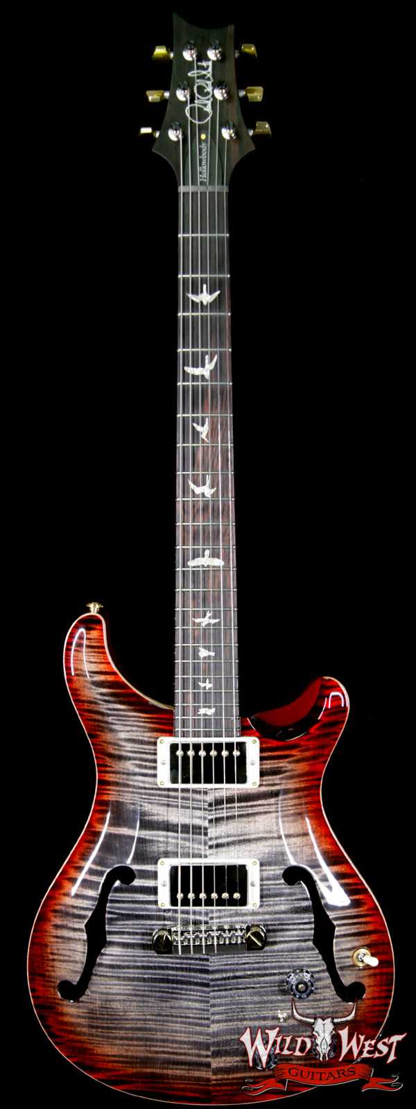 PRS Wood Library Flame 10 Top Hollowbody I Piezo HB1 Brazilian Rosewood Board Charcoal Cherry Burst