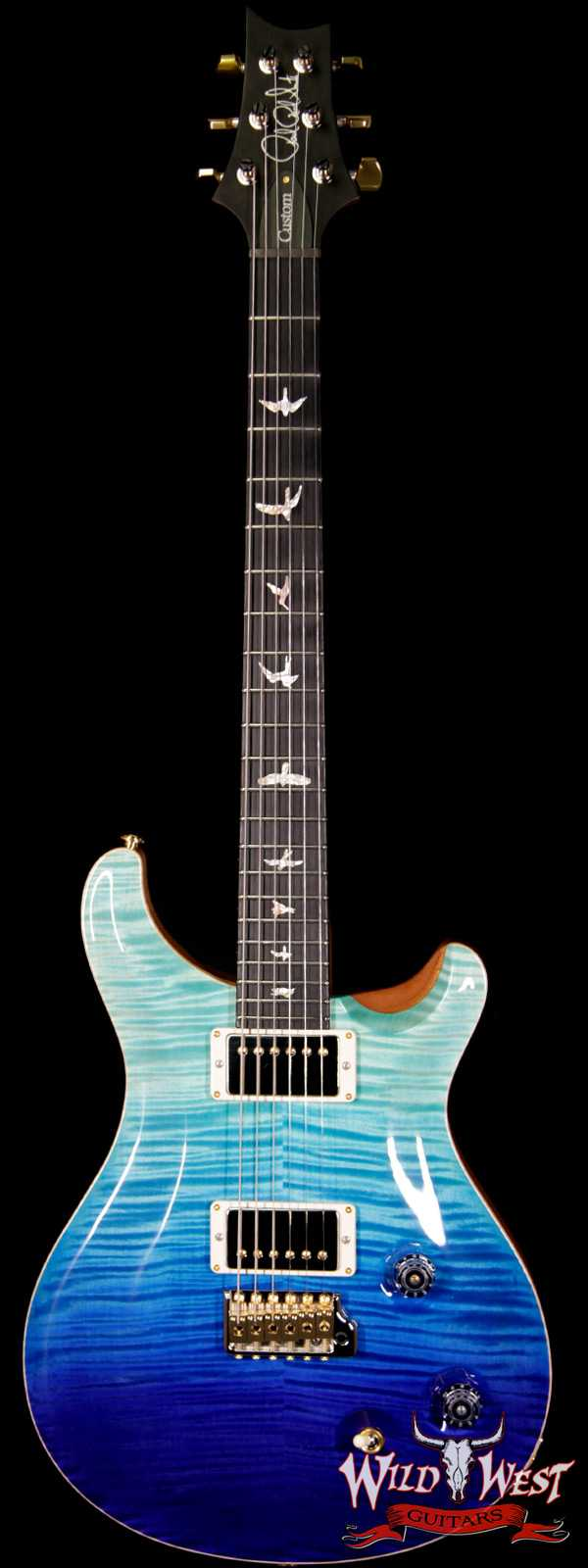 2018 Paul Reed Smith PRS Wood Library Artist Package Custom 22 Flame Maple Top Ebony Fretboard Blue Fade