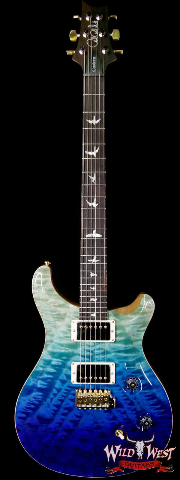 PRS Wood Library 10 Top Custom 24 Fatback Quilt Top Flame Neck Korina Brazilian Rosewood Board Blue Fade