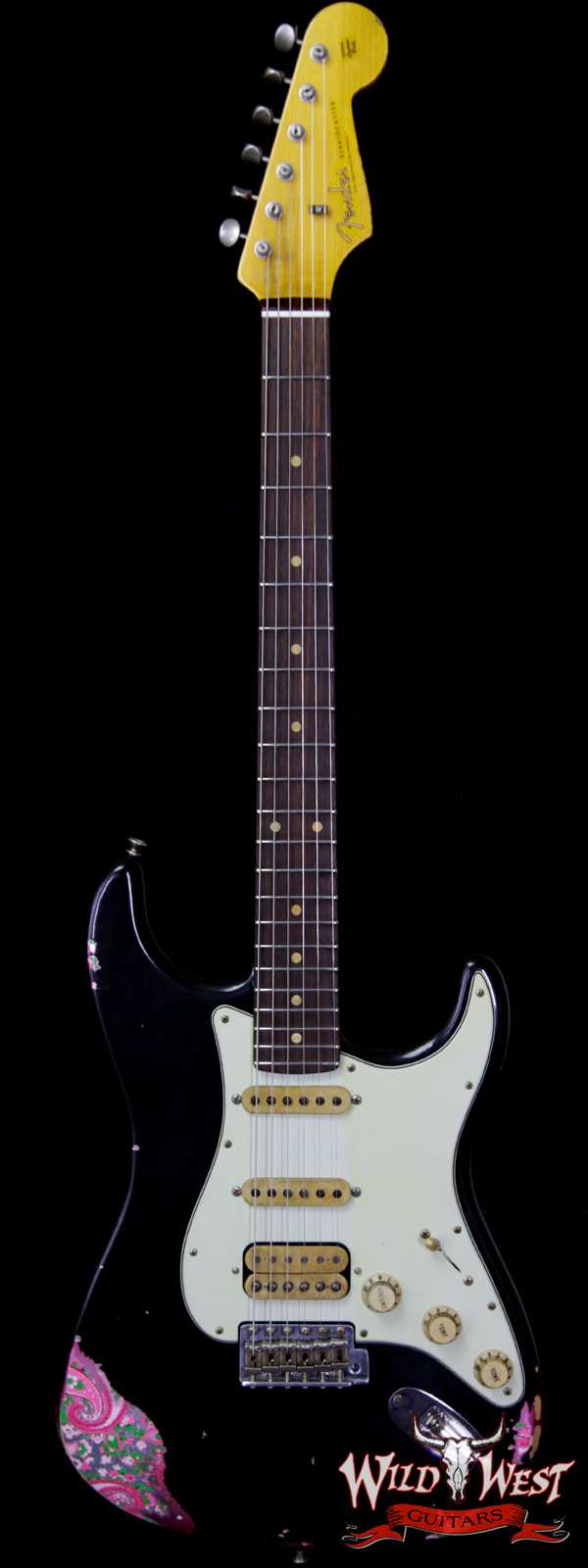 Fender Custom Shop Black Lightning 2.0 Stratocaster Heavy Relic HSS 22 Frets Rosewood Board Pink Paisley