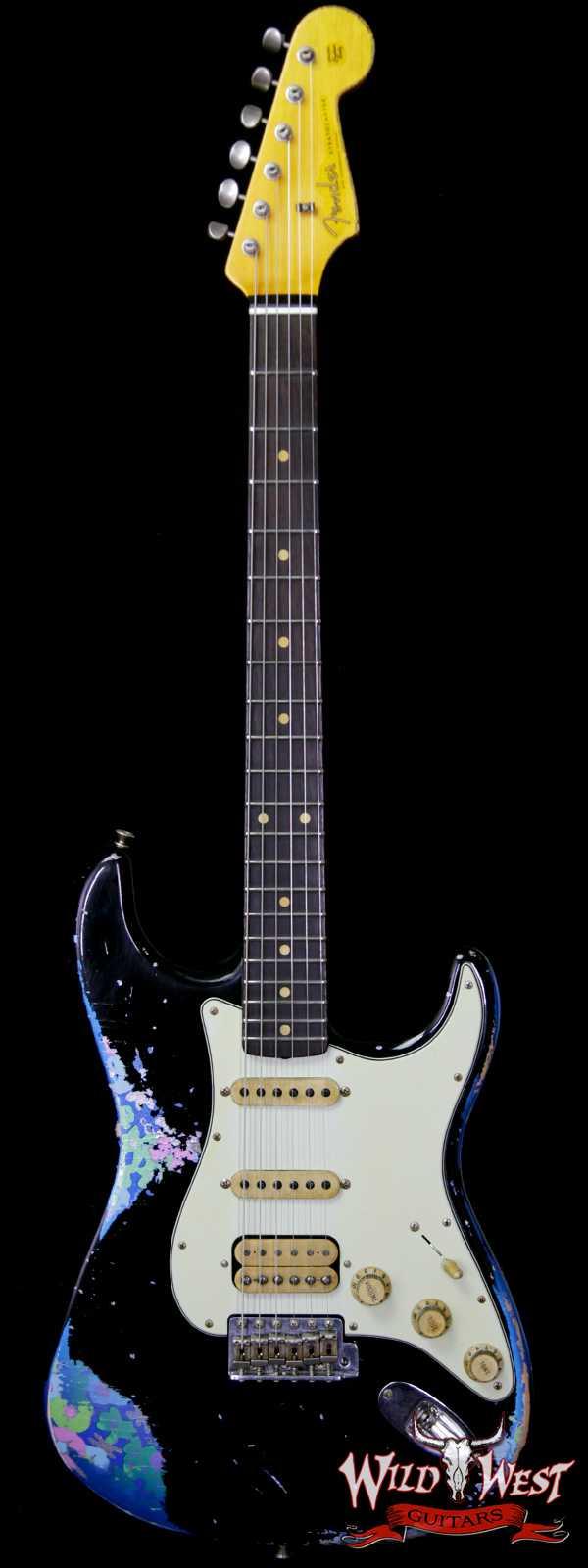 Fender Custom Shop Black Lightning 2.0 Stratocaster Heavy Relic HSS 21 Frets Rosewood Board Blue Flower