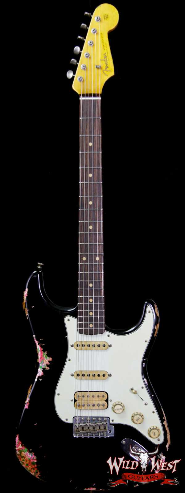 Fender Custom Shop Black Lightning 2.0 Stratocaster Heavy Relic HSS 21 Frets Rosewood Board Pink Paisley
