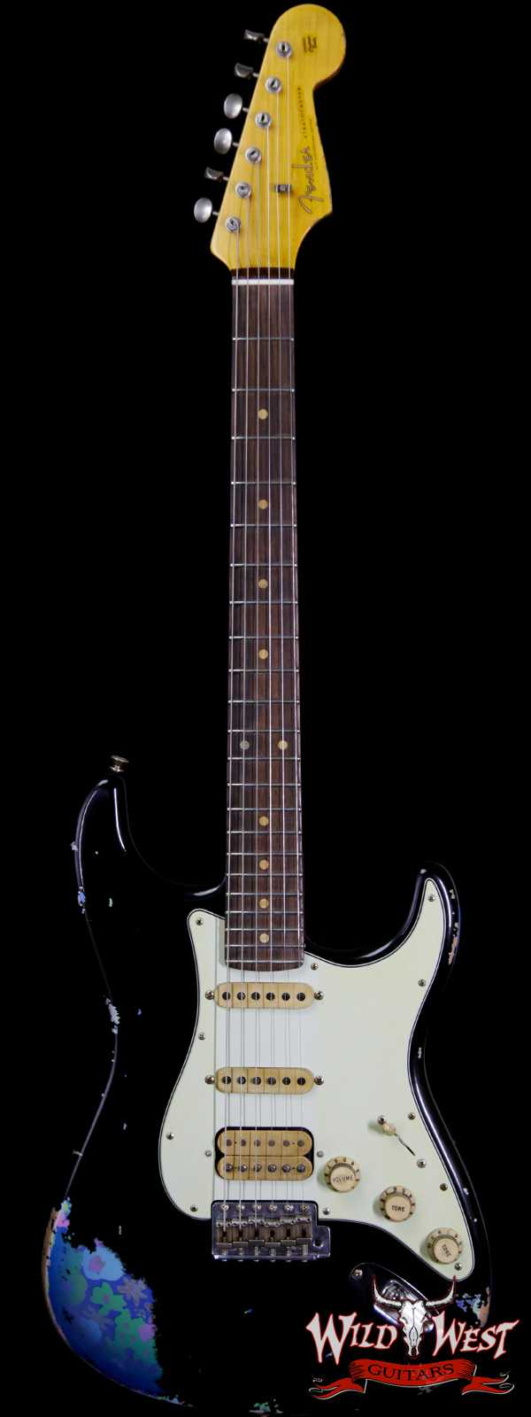 Fender Custom Shop Black Lightning 2.0 Stratocaster Heavy Relic HSS 22 Frets Rosewood Board Blue Flower