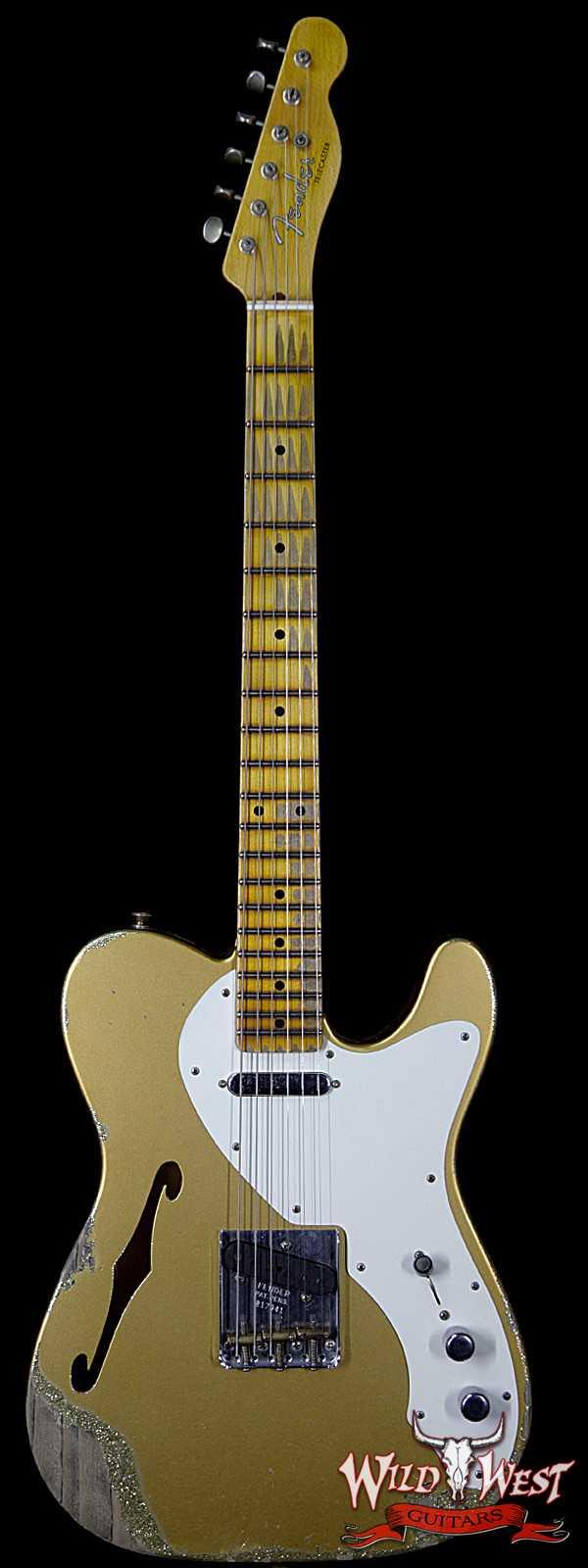 Fender Custom Shop NAMM Ltd 50's Telecaster Thinline Heavy Relic Aztec Gold over Gold Sparkle