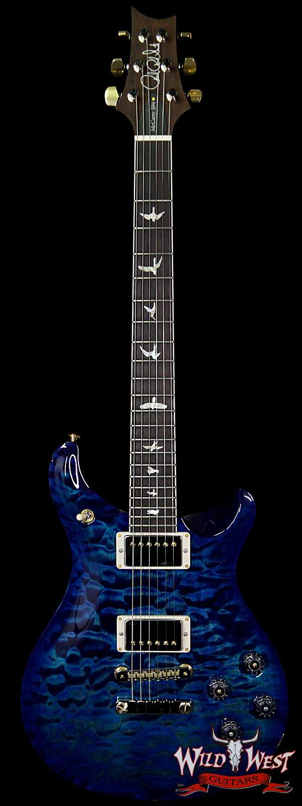 PRS Wood Library 10 Top Quilt Top McCarty 594 Flame Maple Neck Brazilian Rosewood Board River Blue