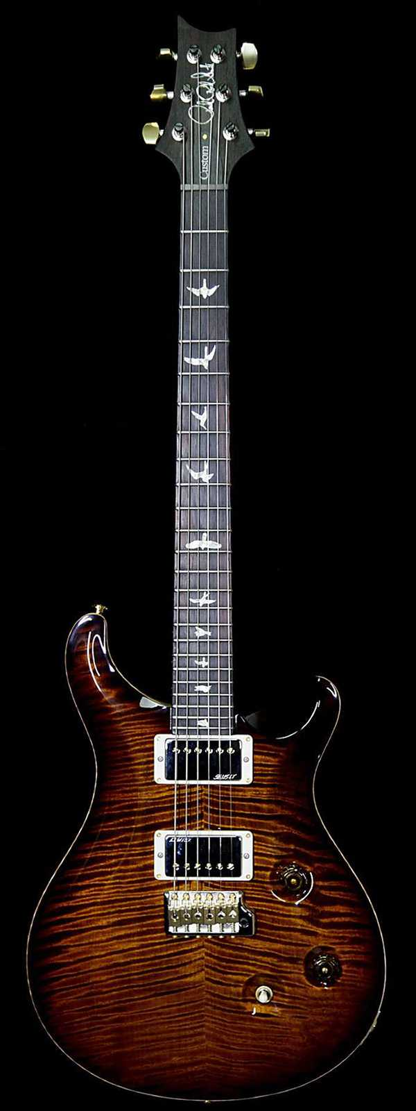 PRS Wood Library Artist Package Custom 24 Fatback Flame Neck Brazilian Rosewood Board Black Gold Burst