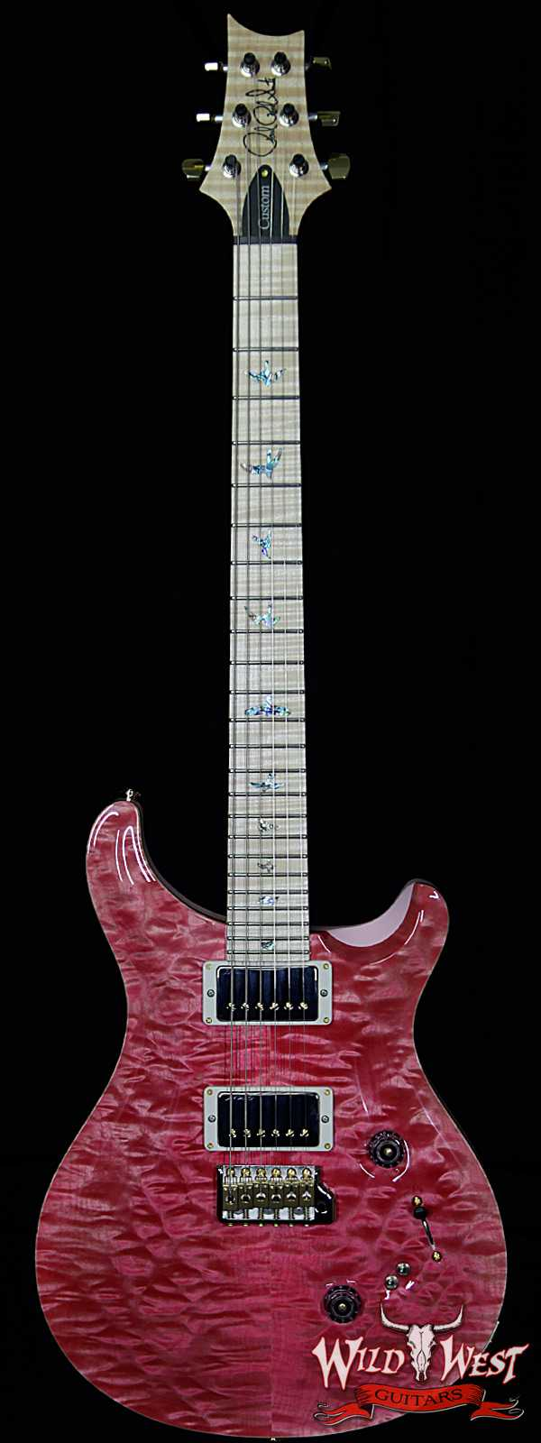 PRS Wood Library 10 Top Custom 24-08 Quilt Top Flame Neck and Fretboard Bonnie Pink