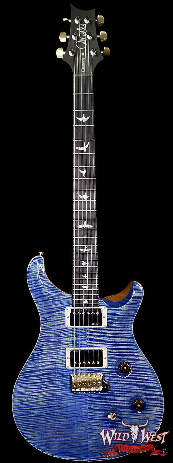 PRS Wood Library Artist Package Custom 24 Fatback Flame Top Neck African Blackwood Board Faded Blue Jean