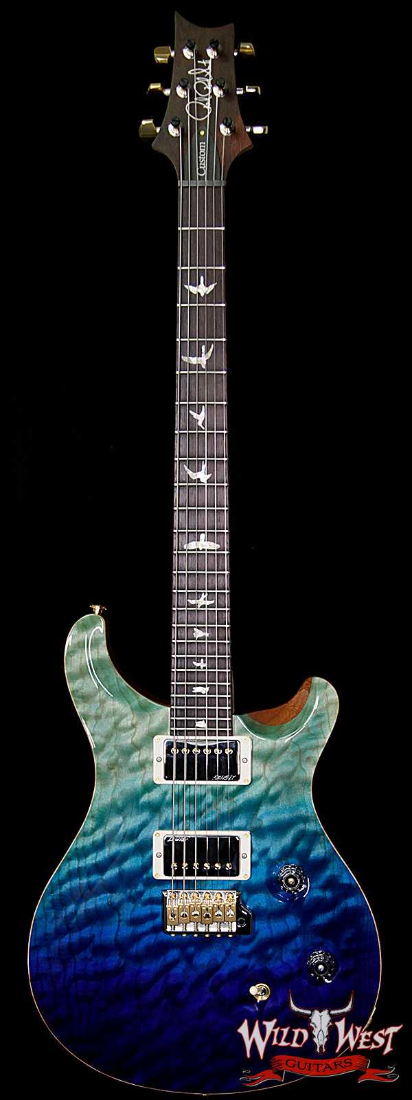 PRS Wood Library 10 Top Custom 24 Fatback Quilt Top Birdseye Neck Brazilian Rosewood Board Blue Fade